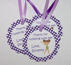 Gymnastics Party - Set of 12 Gymnastics Personalized Favor Tags by The Birthday House. For London's party?