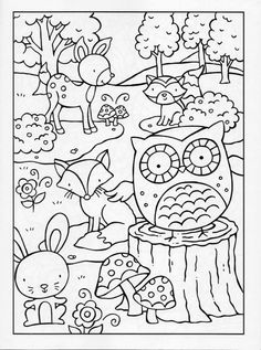 Coloring Page Woodland Animals