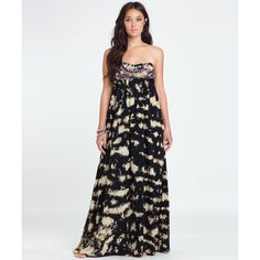 Billabong Women's Sweep Me To The Sea Maxi Dress (135 BRL) ❤ liked on Polyvore featuring dresses, off black, multi colored maxi dress, bandeau dress, strapless maxi dress, multi color maxi dress and billabong dress