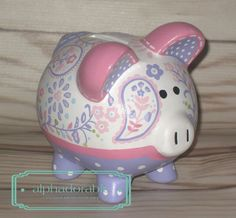 SMALL Simone artisan hand painted ceramic personalized piggy bank by Alphadorable, $56.00