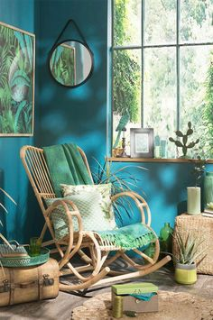 deco-room-adult-blue armchair to switch-mirror-round-black-cactus-safe-wooden-reasons-jungle-turquoise walls Source by archzinefr Decor, Rustic Wall Decor, Bedroom Decor, Popular Interior Design, Tropical Decor, Interior Design, Tropical Home Decor, Home Decor, Room Decor