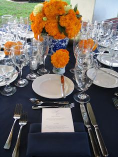 navy and orange wedding decorations - Bing Images