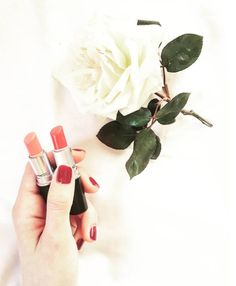 Mac cosmetics! Love these colors! #mac #lips #lipstick #nails #rednails #red #nails #whiterose #white #rose #hand