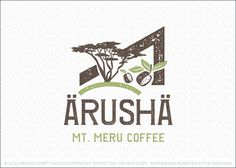 Logo for sale: Rustic, natural and organic coffee themed logo design. The design represents the natural coffee production grown in Arusha, Tanzania near Mt. Meru. A simple angular elements is used to represent the mountain with a african tree growing atop a hill with two coffee beans incorporated into the design. The design of the logo is natural and rustic to capture the organic nature and harvest of the coffee beans.