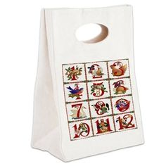 12 Days Of Christmas Canvas Lunch #Tote #Christmas #12DaysOfChristmas #Holiday #Gifts