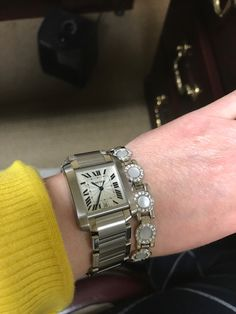 Cartier watch owners: please show us your watches. Girl Watches, Cartier Watches Women, Cartier Tank Francaise, Square Watch, Luxury Watches, Image, Accessories, Beautiful, Jewelry