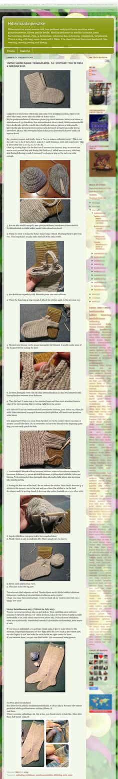 How to make a nalbinded sock (with Heel Type C. { re: Heel Types A to E illustrated by Shelagh Lewins: https://se.pinterest.com/pin/330873903852585784/ })., by Mervi. Posted [in Finnish & English] 2011-12-31  @ hibernaatio.blogspot.com. Please see link for orginal post with fullscale info & photos!