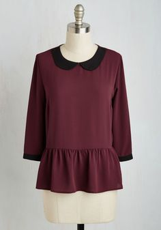 Evening at the Easel Top. What better way to end the day than by unwinding with a paintbrush in hand while clad in this textured burgundy top? #purple #modcloth