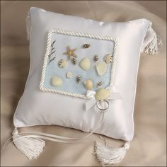 Ring Bearer Pillow - Seaside Beach Wedding Pillow