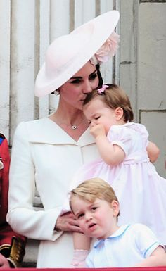 The Duchess of Cambridge, Princess Charlotte and Prince George attend the Trooping the Colour