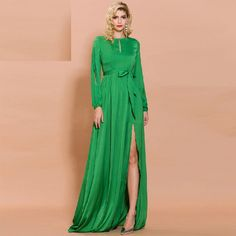 Color : Green Material : Polyester Style : Sexy & Club Pattern Type : Solid Neckline : Turtleneck The post Sexy O Neck Long Sleeve High Split Solid Color Elegant Maxi Dress appeared first on Power Day Sale. Maxi Outfits, Maxi Dresses, Evening Dresses, Fashion Outfits, Maxi Skirts, Elegant Maxi Dress, Fashion Colours, Club Dresses, Dress Brands