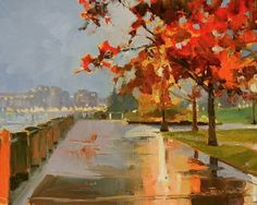 Waterfront Park Portland city oil painting by Robin Weiss, painting by artist Robin Weiss