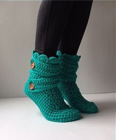 Women's Crochet Teal Slipper Boots Crochet by StardustStyle