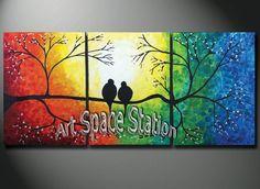 Aliexpress.com: Comprar Pintado a mano pintura paisaje natural árbol de vida, arco iris pájaros del amor decoración abstracta moderna pintura al óleo sobre lienzo arte de la pared de camisa del pájaro fiable proveedores en Art SpaceStation's store