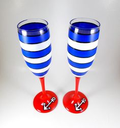Anchors Away Hand Painted Champagne Glasses by ImpulsiveCreativity, $40.00