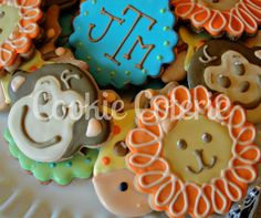Jungle Themed Cookies Lion Monkey Giraffe Cookies Baby Shower Cookie Favors. $18.00, via Etsy.
