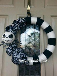 Jack Skellington wreath, Nightmare Before Christmas wreath, black and white yarn wreath, Halloween wreath, Christmas wreath, holiday wreath by BozuesCraftCloset on Etsy https://www.etsy.com/listing/229186880/jack-skellington-wreath-nightmare-before