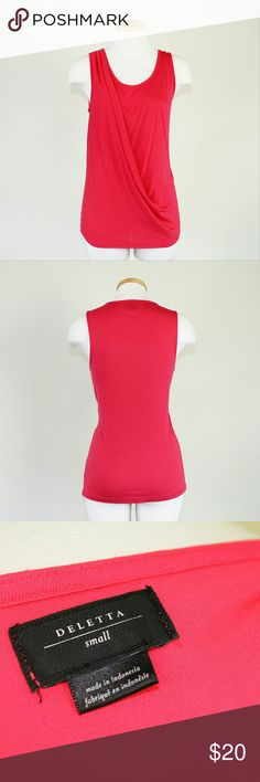 NWOT Anthroplogie Deletta Drapey Tank Flattering watermelon pink drapey tank from Deletta in like new condition. Super cute alone or with a jacket!   Please let me know if you have any questions or need more pictures. I will consider all reasonable offers, but no trades, please. Anthropologie Tops Tank Tops