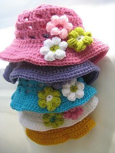Free Crochet Sun Hat Baby to 10 years Pattern. Time for summer!