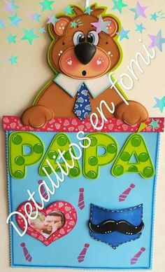 cuadro para papá Foam Crafts, Diy And Crafts, Die Cut Cards, Ideas Para, Fathers Day, Dads, Baby Shower, Jelly Beans, Portrait Frames
