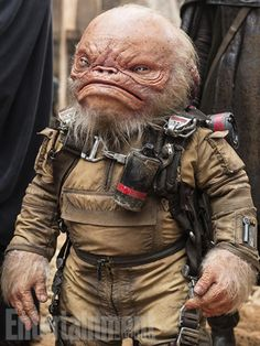 """'Star Wars': Meet the Creatures and Droids in 'Rogue One' - """"Weeteef Cyubee"""" Warwick Davis has played various characters in three Star Wars movies – and in Rogue One he's back as a wrinkly member of Saw Gerrera's (Forest Whittaker) team. Star Wars Film, Star Wars Rpg, Sith, Dark Vader, Star Wars Species, Star Wars Canon, Star Wars Personajes, Star Wars Droids, Star Wars Costumes"""