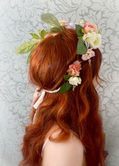 Boho flower crown wedding head piece bridal by gardensofwhimsy, $130.00