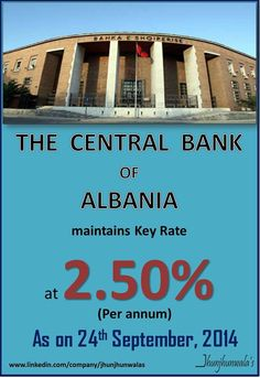 The #CentralBankOfAlbania maintained its #PolicyRate at 2.50% per annum on 24th September 2014  Data compiled and released by Central Bank of Albania  #Albania #Europe #InterestRate # #MonetaryPolicyReview   For more Informative post click : https://www.linkedin.com/company/jhunjhunwalas
