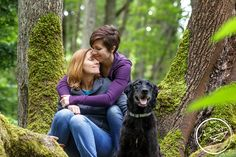 Outdoor engagement photography with dog | Amelia Soper Wedding Photographer, couple, LGBT, lesbian engagement, forest, pacific northwest