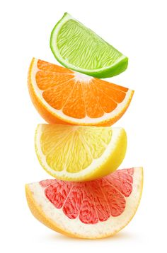 Pieces of grapefruit orange lemon and lime fruits on top of each other isolated on white background with clipping path Fruits Drawing, Fruits Photos, Fruit Painting, Orange Painting, China Painting, Fruit Photography, Oranges And Lemons, Orange Fruit, Color Pencil Art