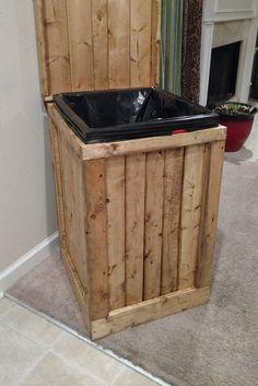 Wood Garbage Can 30 Gallon Trash Can Wood Trash Bin Wood Trash Can Holder, Wooden Trash Can, Wooden Storage Bins, Diy Storage Cabinets, Trash Containers, Trash Bins, Trash Can Covers, Garbage Can Storage, Trash Can Cabinet