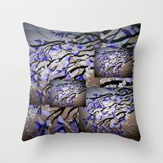 Purple and silver grey gray cherry blossom blossoms tree trees sakura Japanese 2 Throw Pillow by Cathy Jacobs - $20.00