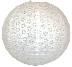 """This beautiful paper lantern can be used at any event, or as home decor! 16"""" White Round Eyelet Paper Lantern"""