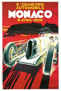 """""""Monaco Grand Prix Vintage 1930 Auto Race Poster"""" by Johnny Bismark, Tropical Oasis // Imagekind.com – Buy stunning, museum-quality fine art prints, framed prints, and canvas prints directly from independent working artists and photographers."""