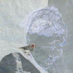 Textielcollages van Marieke Smink Free Machine Embroidery, Collage, Birds, Sculpture, Stitch, Fabric, Painting, Animals, People