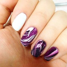 Purple water marble nails