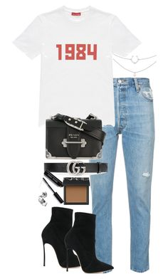 """Untitled #5039"" by theeuropeancloset on Polyvore featuring RE/DONE, Gosha Rubchinskiy, Prada, Gucci, Casadei, NARS Cosmetics and Bobbi Brown Cosmetics"