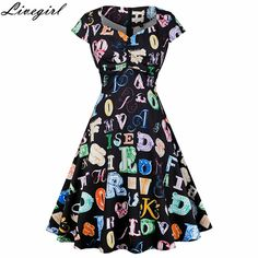 Women Big Swing Dress Casual Retro Robe Vintage 50s 60s Letter Printing  Summer Dresses Womens Elegant 6e1e117245ae