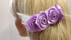 Haarschmuck & Kopfputz - Blüten Haarkamm für die Braut in Flieder - ein Designerstück von alw-design bei DaWanda