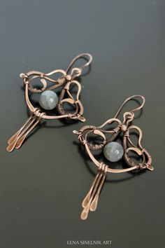 Wire wrap earrings copper earrings labradorite by LenaSinelnikArt