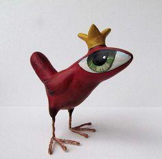 Paper Mache - Art Sculpture - Abigail - A Big Eyed Bird