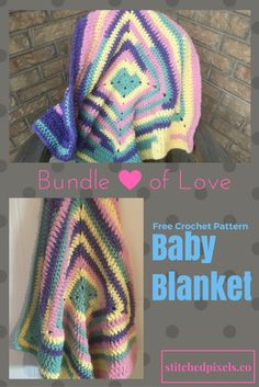 Need a quick and easy baby blanket for that shower next weekend?  Or do you just need a simple pattern to use up some of that self striping yarn? Look no further, the Bundle of Love Baby Blanket Pattern is ready for you!  This is a continuous granny square, no joining rounds, or getting that tell tale line where you change rows.   Completely seamless!