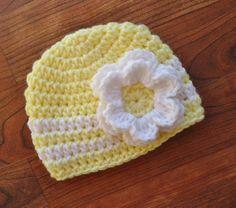 Crocheted Light Yellow Baby Girl Hat with by KaraAndMollysKids, $16.00