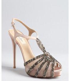 Valentino ~ Mauve Suede and Satin Embellished Strappy Platform Sandals