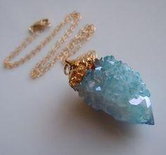 SPIRIT QUARTZ Necklace Aqua Aura Druzy Aqua Blue by 443Jewelry