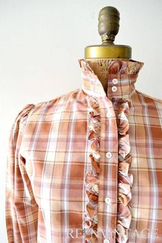 1970s cinnamon nutmeg plaid shirt