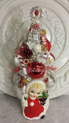 Vintage Christmas Girl Planter bottle brush TREE ornaments rhinestone pin watch