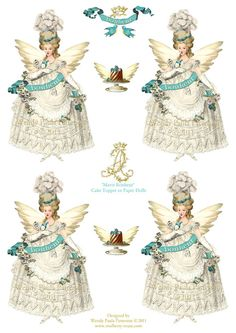 Marie Antoinette Cup Cake Toppers Party Picks Paper Dolls