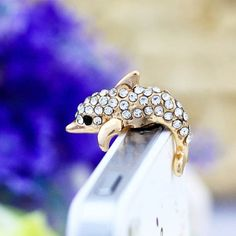 Bling White Crystal Golden Dolphin Ocean Fish Anti Dust Plug 3.5mm Smart Phone Headphone Cap Earphone Jack Charm iPhone 4 4S 5 HTC Samsung on Etsy, $4.98