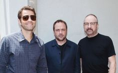 Misha Collins, Mark Sheppard, Jim Beaver Misha is the only one smiling xD
