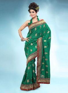 Green Bhagalpuri Art Silk Saree